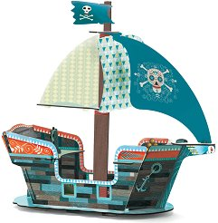Пиратски кораб - 3D картонен модел за сглобяване - играчка