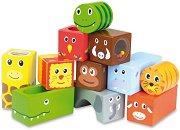 Активни кубчета - Животните в Саваната - Дървени образователни играчки -
