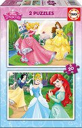 Принцесите на Дисни - Два пъзела с едри елементи - пъзел