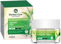 """Farmona Herbal Care Normalising Cream - Green Tea - Матиращ крем за лице със зелен чай за мазна и смесена кожа от серията """"Herbal Care"""" - серум"""