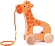 Жираф - Дървена играчка за дърпане -