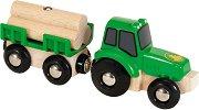 Тракторче с ремарке - Детска дървена играчка -