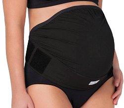 Черен безшевен регулируем колан за бременни -