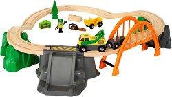 """Товарна рампа - Дървена играчка с аксесоари от серията """"Brio: Комплекти с релси"""" - играчка"""
