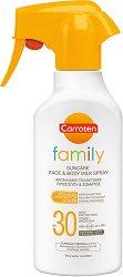 Carroten Family Suncare Milk Spray - SPF 30 - Слънцезащитно мляко за лице и тяло - олио