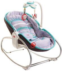 Бебешки шезлонг 3 в 1 - Rocker Napper: Grey Turquoise - С вибрация и мелодии - продукт