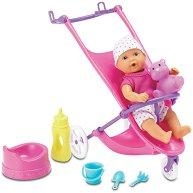 Бебе с количка - Детска мини кукла с аксесоари - играчка