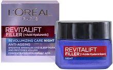 L'Oreal Revitalift Filler Anti-Ageing Revolumizing Care Night - Нощен крем против стареене с хиалуронова киселина - серум