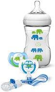 Син комплект за новородено - Слончета - С шише, залъгалки и клипс - шише