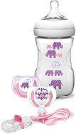 Розов комплект за новородено - Слончета - С шише, залъгалки и клипс -