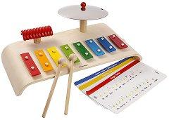 Музикален комплект - Детски инструменти от дърво - играчка