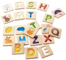 Английска азбука с картинки - Детски образователни дървени плочки с букви -