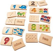 Плочки с цифри - Детски образователен комплект от дърво - играчка