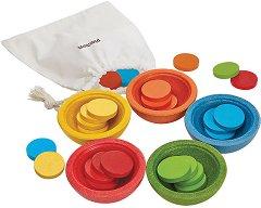 Купички за броене и сортиране - Детски образователен комплект от дърво - играчка