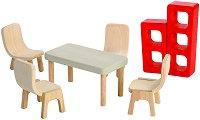 Мебели за трапезария - Дървено обзавеждане за къща за кукли - играчка