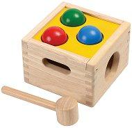 Удари топчетата - Детска дървена играчка с чукче - играчка
