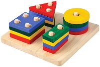 Геометрични фигури - Детски образователен комплект от дърво - играчка