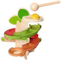Писта с топче - Тракащо дърво - Детска играчка от дърво - играчка