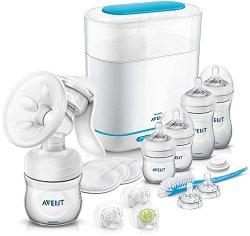 Комплект за новородено - All in One - С помпа за кърма, парен стерилизатор, шишета и аксесоари -