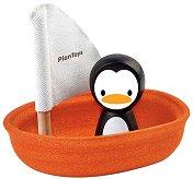 Платноходка с пингвин - Дървена играчка за баня -