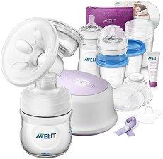 Комплект за кърмене - Natural - С електрическа помпа за кърма, шишета, контейнери, аксесоари и DVD -