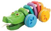 Танцуващ крокодил - Дъга - Дървена играчка за дърпане - играчка