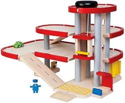 Паркинг - Дървена писта с аксесоари - играчка
