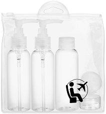 Несесер с празни шишета за козметика и дезинфектанти - Комплект от 6 части - шампоан