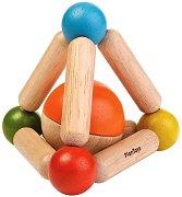 Триъгълници с топче - Дървена дрънкалка за бебета над 6 месеца -