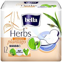 Bella Herbs Sensitive Plantago - Дамски превръзки с крилца в опаковка от 12 броя - дамски превръзки