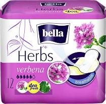 Bella Herbs Verbena Deo Fresh - Дамски превръзки с крилца в опаковка от 12 броя - дамски превръзки