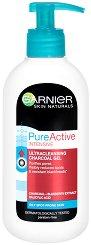 Garnier Pure Active Intensive Ultracleansing Charcoal Gel - Измиващ гел за лице против черни точки - маска