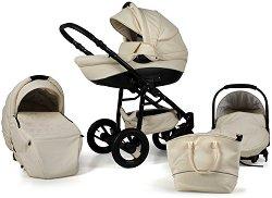 Бебешка количка 3 в 1 - Nemo Exclusive: Champagne - С 4 колела -