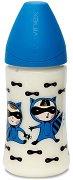 Синьо бебешко шише за хранене - Basic Collection 270 ml - Комплект с биберон размер 1 за бебета от 0 до 6 месеца -