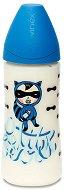 Синьо бебешко шише за хранене - Basic Collection 360 ml - Комплект със силиконов биберон размер 2 за бебета над 6 месеца -