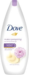 "Dove Purely Pampering Sweet Cream & Peony Nourishing Shower Gel - Подхранващ душ гел с аромат на божур от серията ""Purely Pampering"" - балсам"
