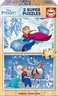 Замръзналото кралство - Два пъзела с дървени елементи - пъзел