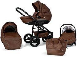 Бебешка количка 3 в 1 - Nemo Exclusive: Brown - С 4 колела -
