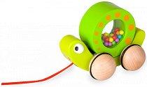 Охлюв - Детска дървена играчка за дърпане -