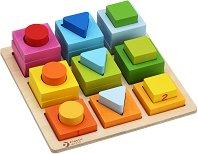 Геометрични фигури - Дървена образователна дъска за сортиране - играчка