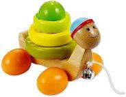 Костенурка - Детска дървена играчка за дърпане -