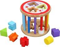 Дрънкалка с формички за сортиране - Дървена образователна играчка -