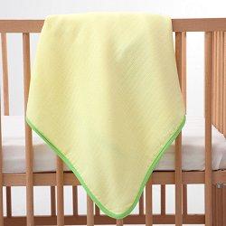 Жълта бебешка муселинова пелена със зелен кант - Размер 90 x 90 cm -
