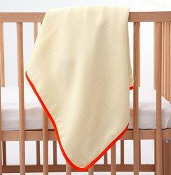 Жълта бебешка муселинова пелена с оранжев кант - Размер 90 x 90 cm -