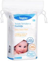 Памучни тампони за почистване на бебешка кожа - Опаковка от 60 броя - продукт