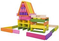 Детски дървен конструктор - С плоски блокчета -