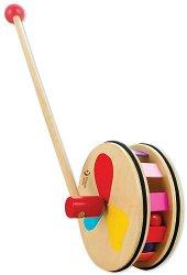 Цветно колело - Детска дървена играчка за бутане - творчески комплект