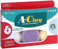 Цветна глина за моделиране - A-Clay - Комплект от 6 цвята по 15 g