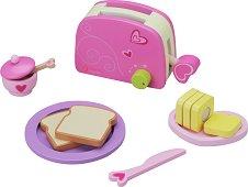 Тостер - Детска дървена играчка с аксесоари - играчка