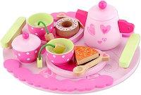 Сервиз за чай - Детски дървен комплект за игра с аксесоари - играчка